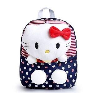 New Nylon Cute Dot Hello Kitty Backpacks Gift for Children Plush Cartoon Scho...