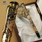 JINHAO 5000 Black and Golden Dragon Embossed M Nib Fountain Pen
