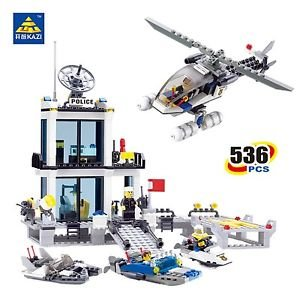 Kazi Police Station Blocks 536pcs Bricks Building Blocks Sets Model Helicopte...