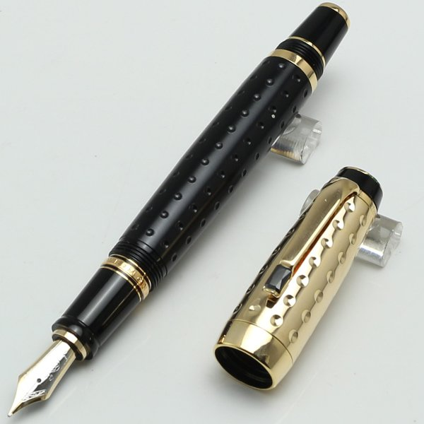 New MT emia series mon black and gold fountain pen with gem school office sta...