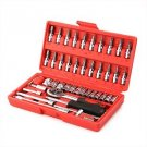 46 Pieces Combination Socket Set Ratchet tool Torque Wrench To Repair Auto Re...