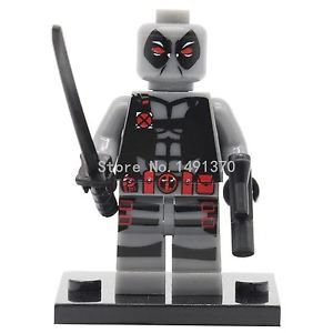 XINH 192 Marvel Gray Deadpool Minifigure With Gun and Sword Single Sale Aveng...