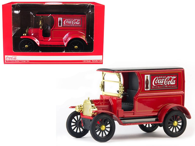 """1917 Ford Model T Cargo Van """"coca-cola"""" Red 1/24 By Motorcity Classics"""