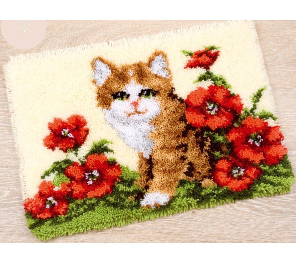 Kitten in Flowers Rug Hooking Kit