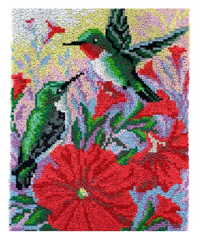 Hummingbirds Rug Latch Hooking (58x85cm)