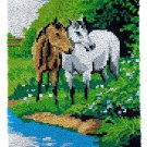 Two Horses at Lake Rug Latch Hooking Kit (58x87cm)