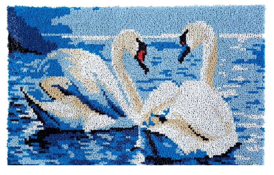 Two Swans in Love Rug Latch Hooking Kit (85x58cm)