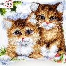 Cute Kittens Pillow Latch Hooking Kit (43x43cm)