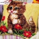 Cute Kitten Pillow Latch Hooking Kit (43x43cm)