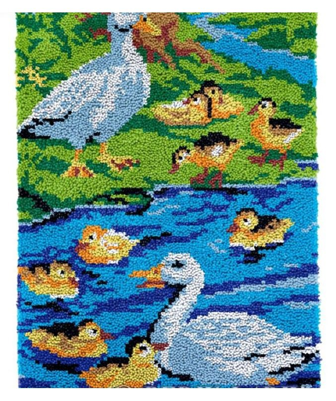 Duck Family Rug Latch Hooking Kit (58x87cm)