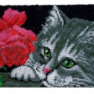 Cat with Rose Rug Latch Hooking Kit (85x58cm)