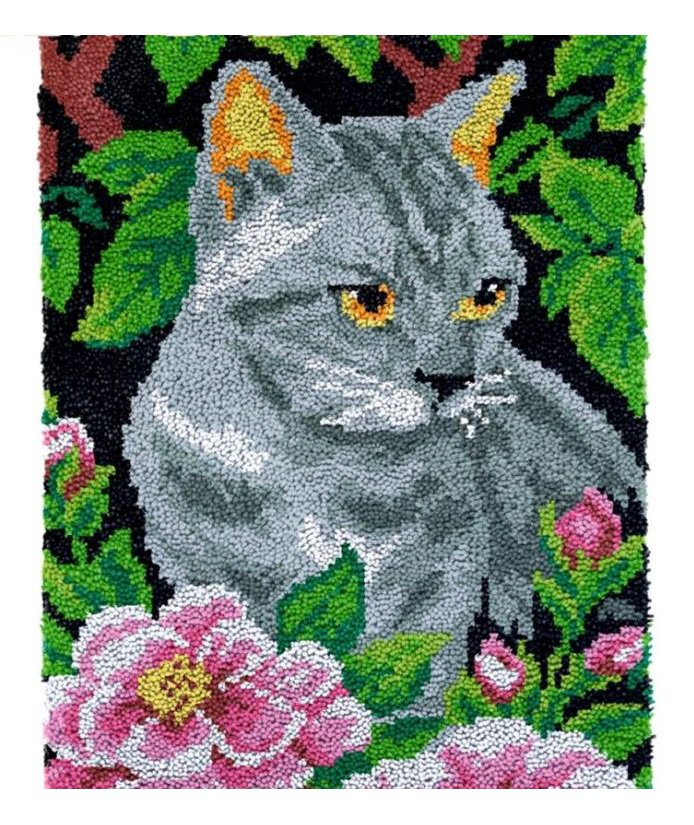 Kitten in Flowers Rug Latch Hooking Kit (58x87cm)