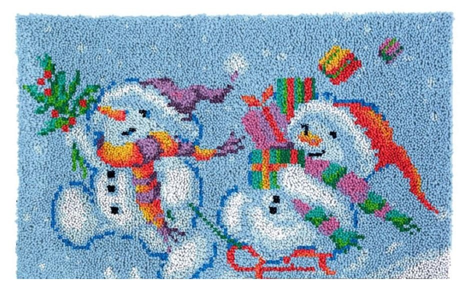 Happy Snowmen Rug Latch Hooking Kit (85x58cm)
