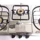 STAINLESS STEEL THREE 3 BRASS BURNER GAS STOVE COOKTOP HOB LPG PROPANE SLEEK