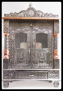 "BIG WOODEN OXIDIZED HINDU POOJA MANDIR PUJA TEMPLE 23"" x 9"" x 18"" GOD HANUMAN"