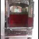 "NEW WOODEN OXIDIZED HINDU POOJA MANDIR PUJA TEMPLE 22"" x 12"" x 9"" GOD RED VELVET"
