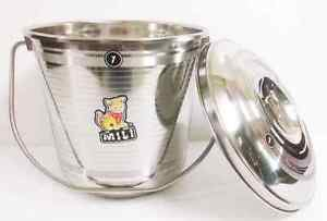 STAINLESS STEEL SEAMLESS BUCKET WITH LID 5.5 LITER WATER MILK STORAGE CAN POT
