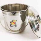 STAINLESS STEEL SEAMLESS BUCKET WITH LID 4.0 LITER WATER MILK STORAGE CAN POT