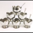 STAINLESS STEEL ICE CREAM (ICECREAM) CUPS SERVING BOWLS WITH SPOOND SET 6 PIECES