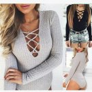 women long sleeve t shirt bodycon jumpsuit cotton bodysuit sexy catsuit v neck fitness costum