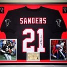 Premium Framed Deion Sanders Autographed Atlanta Falcons Jersey - JSA COA