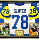 Premium Framed Jackie Slater Autographed Rams Jersey - JSA COA