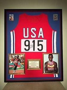 Premium Framed Carl Lewis Autographed Team USA Olympic Track Jersey JSA COA