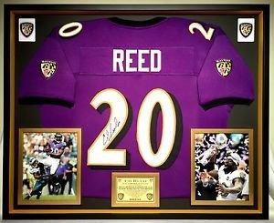 Premium Framed Ed Reed Autographed / Signed Baltimore Ravens Jersey - JSA COA