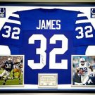 Premium Framed Edgerrin James Autographed / Signed Colts Jersey JSA COA