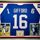 Premium Framed Frank Gifford Autographed New York Giants Jersey - JSA COA Signed