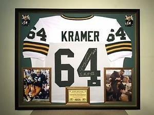 Premium Framed Jerry Kramer Autographed Inscribed Packers Jersey Signed PSA/DNA