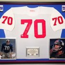 Premium Framed Sam Huff Signed Giants Official Mitchell & Ness Jersey - PSA COA