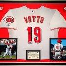 Premium Framed Joey Votto Autographed Cincinnati Reds Majestic Jersey - PSA COA