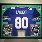 Premium Framed Steve Largent Autographed Seahawks Official Jersey Tristar COA