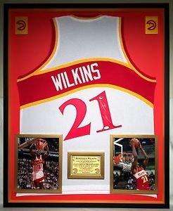 Premium Framed Dominique Wilkins Autographed Signed Atlanta Hawks Jersey - JSA