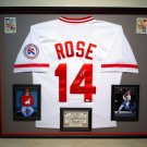 "Premium Framed Pete Rose Autographed / Signed ""HIT KING"" Cincinnati Reds Jersey - GA COA"