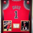 Premium Framed Derrick Rose Autographed / Signed Chicago Bulls Jersey - GA COA