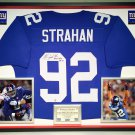 Premium Framed Michael Strahan Autographed New York Giants Jersey - GA COA