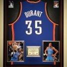 Premium Framed Autographed Kevin Durant Oklahoma City Thunder Jersey - GA COA