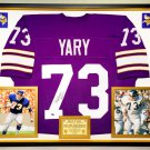 Premium Framed Ron Yary Autographed Vikings Jersey - Leaf COA