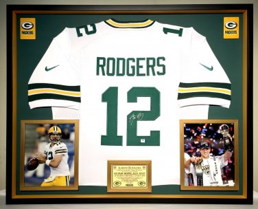 Premium Framed Aaron Rodgers Autographed Green Bay Packers Nike Jersey - GA COA