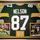 Premium Framed Jordy Nelson Autographed Green Bay Packers Jersey - GA COA