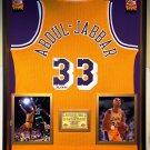 Premium Framed Kareem Abdul-Jabbar Autographed Adidas Lakers Jersey - Schwartz COA - Abdul Jabbar