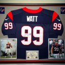 Premium Framed J.J. Watt Autographed Houston Texans Official Nike Jersey - GA COA - JJ Watt