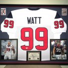 Premium Framed J.J. Watt Autographed Houston Texans Jersey - GA COA - JJ Watt