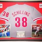 Premium Framed Curt Schilling Autographed Phillies Jersey - Leaf COA - kurt schilling