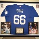 Premium Framed Yasiel Puig Autographed Los Angeles Dodgers Authentic Majestic Jersey - GA COA