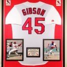 Premium Framed Bob Gibson Autographed Official MLB Majestic Cardinals Jersey - JSA COA