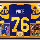 Premium Framed Orlando Pace Autographed / Signed Rams Jersey  - Schwartz COA