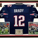 Premium Framed Tom Brady Autographed New England Patriots Reebok Jersey - Mounted Memories COA
